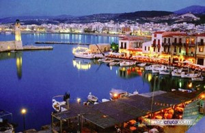 CRETE: Rethymnon old port in the evening...